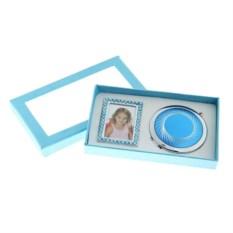 Голубой подарочный набор Зеркало и фоторамка