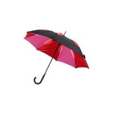 Черный с красным зонт-трость, полуавтоматический с двухслойным куполом