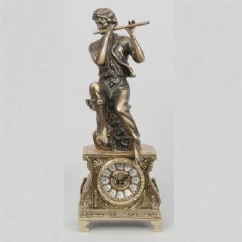 Часы бронзовые каминные Флейтист