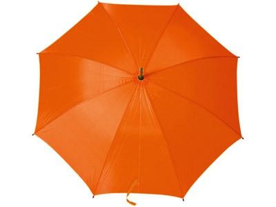 Зонт-трость, с деревянной ручкой, оранжевый