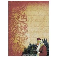 Рисовая бумага для декупажа Дед Мороз и птичка