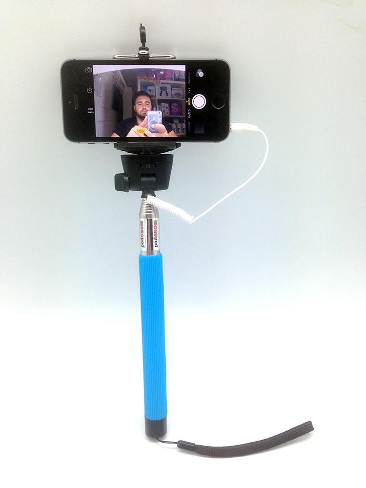 Синий монопод для селфи с проводом и кнопкой
