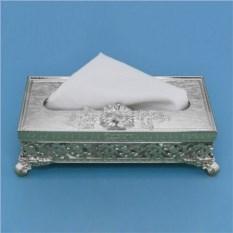 Посеребренная коробочка под салфетки и платочки