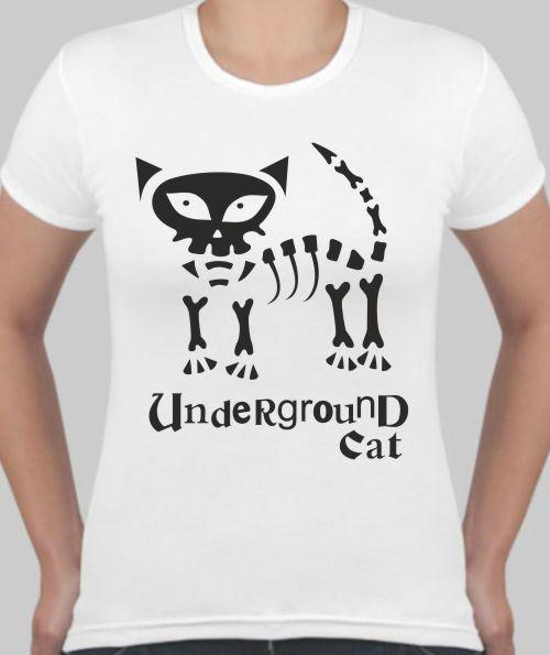 Женская футболка Underground cat