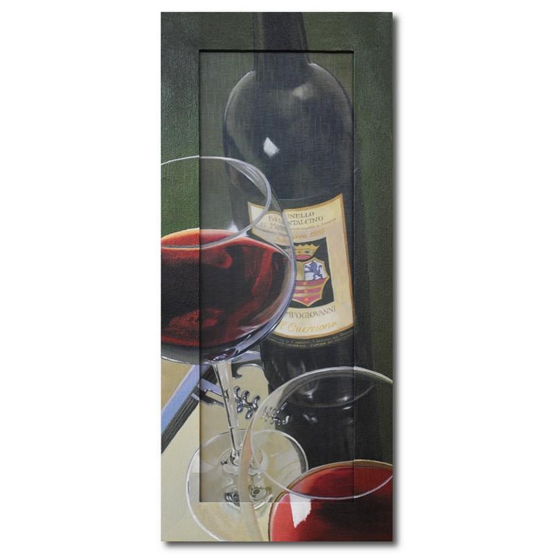 Репродукция с подрисовкой на раме Кухня, вино и два бокала