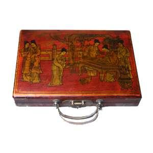 Маджонг в широком кожаном чемодане