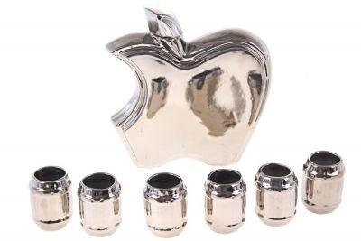 Винный набор Яблоко (штоф + 6 рюмок), серебро