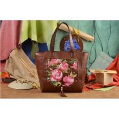 Коричевая сумка-шопер Розовое поле Elole Design