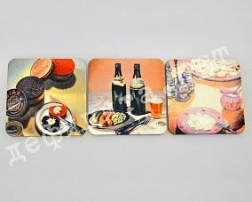 Набор подставок под кружки «Икра, пиво, пельмени»
