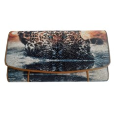 Женский кошелек из кожи ската Леопард