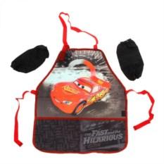 Красный детский фартук с нарукавниками Тачки
