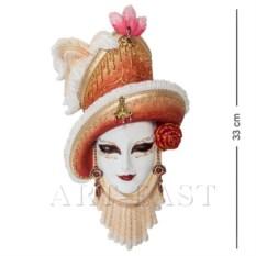 Венецианская маска Леди в шляпе (цвет: бело-золотой)