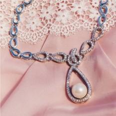 Колье с родием «Невесомость» с жемчугом и кристаллами