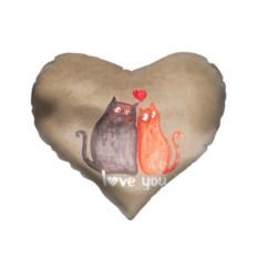 3D-подушка в форме сердца Влюбленные котики