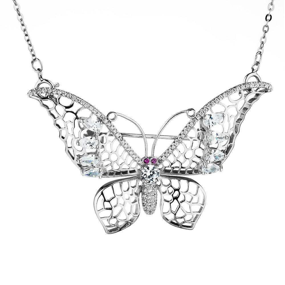 Серебряная брошь-колье с фианитами в форме бабочки