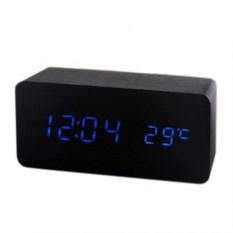 Деревянные черные часы-будильник с термометром