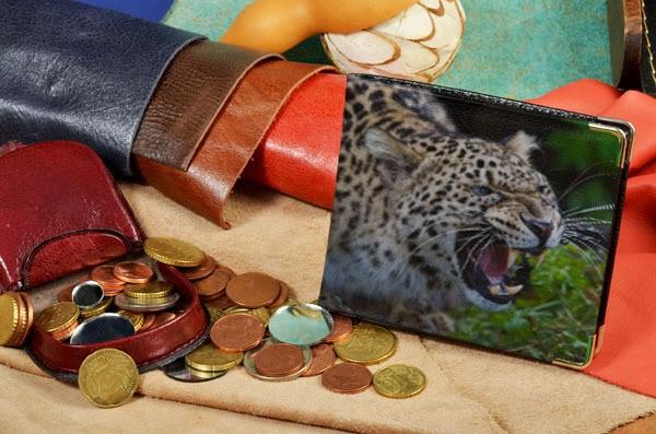 Портмоне с принтом Оскалившийся леопард