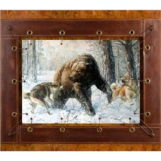 Картина из кожи Медведь и собаки
