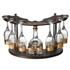Мини бар из 6 бокалов и 6 стопок на деревянной стойке