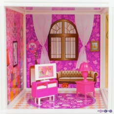 Трехэтажный кукольный дом с 6 комнатами