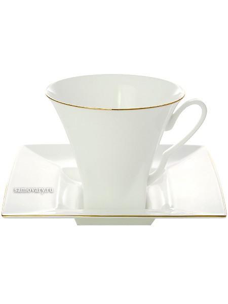 Чашка с блюдцем чайная, форма Петрополь, рисунок Золотая лента