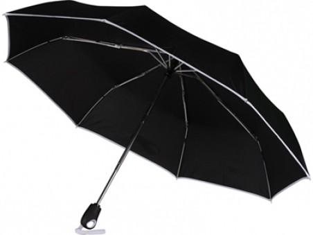 Черный автоматический зонт с белой окантовкой