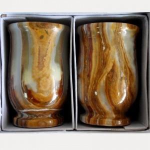 Комплект из двух фигурных стаканов из оникса