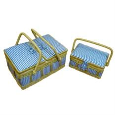 Набор из 2 голубых шкатулок для рукоделия