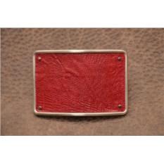 Пряжка для ремня с кожаной вставкой. Коллекция G.Design (красный, игуана; нат. кожа)