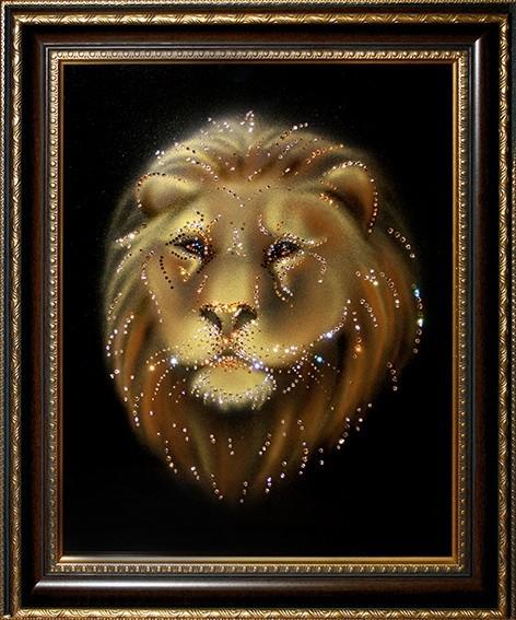 Картина с кристаллами Swarovski Лев в багете