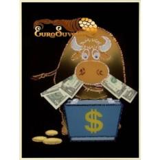 Картина Swarovski Бычок с деньгами, 921 кристалл, 30х40 см
