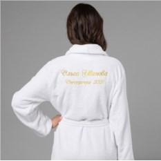 Женский халат с вышивкой Снегурочка-2018 (белый)