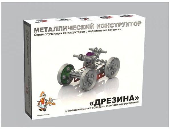 Металлический конструктор с подвижными деталями Дрезина