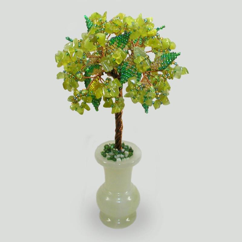 Дерево из хризолита Семейное счастье в вазочке из оникса