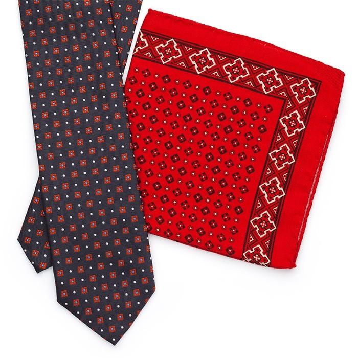 Галстук Fumagalli из шёлка, с узором, сине-красный