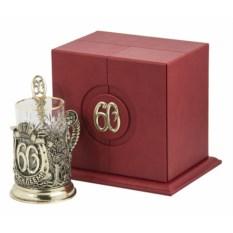 Набор для чая в кожаном футляре С юбилеем-60 лет, бронза
