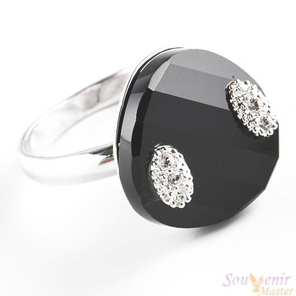 Кольцо с кристаллами Swarovski Помпадур Твист