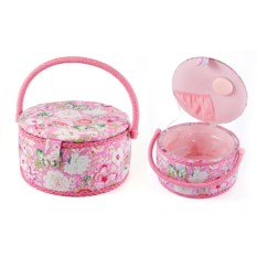 Розовая шкатулка для рукоделия Сундучок, размер 24х24х13 см