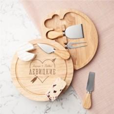 Именная доска для сыра с набором ножей
