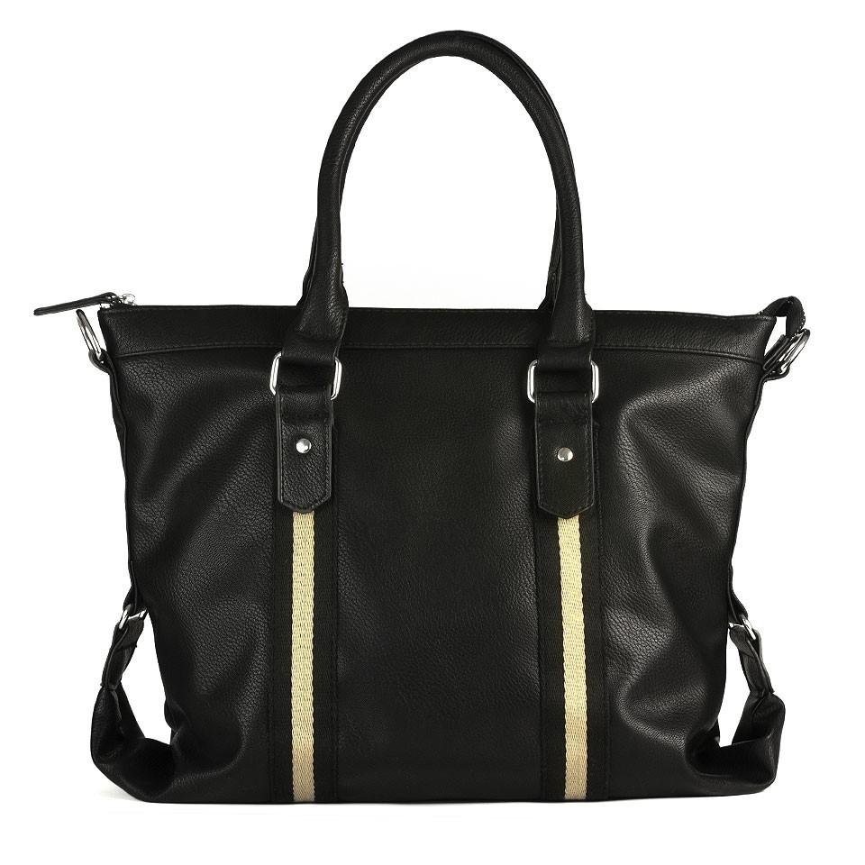 Черная мужская сумка с полосами