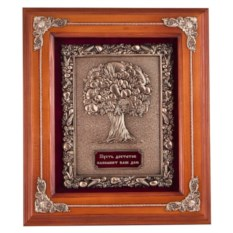 Ключница цвета орех Древо изобилия из дерева и меди