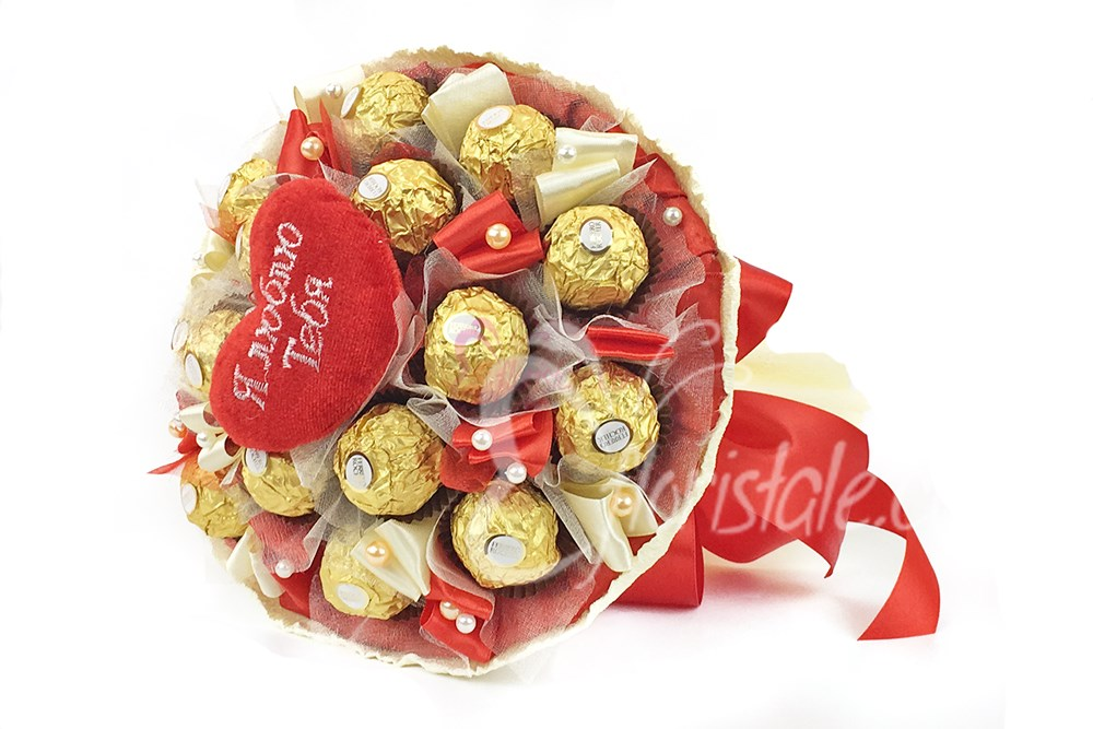 Букет из конфет Ferrero Roscher и сердца