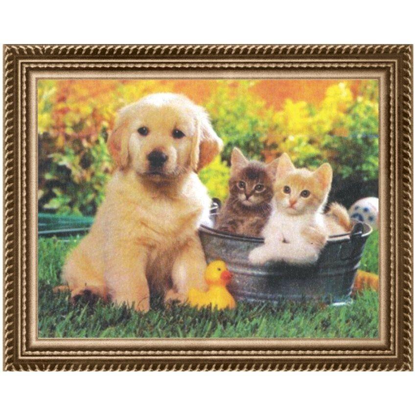 Вышивка крестом Щенок и котята