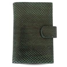 Зеленое портмоне для автодокументов из змеи Bagira exotic