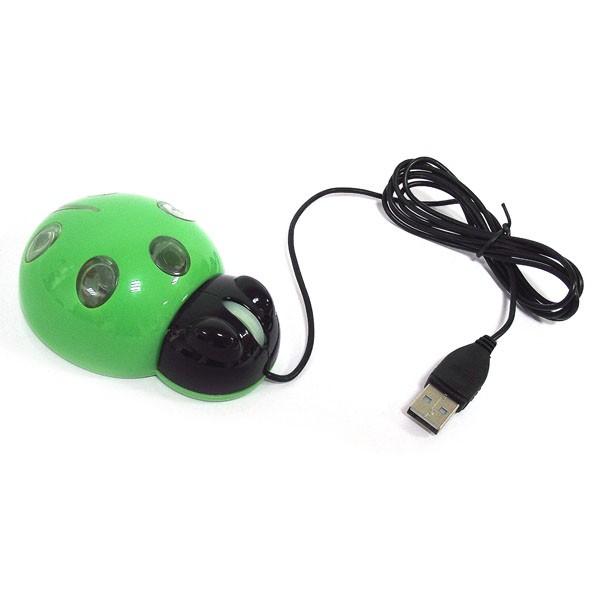 Мышь для ПК Божья коровка, зеленая