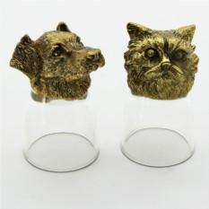 Набор рюмок-перевертышей с головами животных Собака и кот