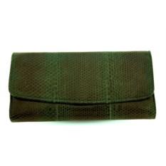 Зеленый женский кошелек из кожи морской змеи
