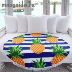Круглое пляжное покрывало с бахромой Сочный ананас