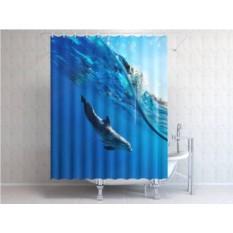 Фотоштора для ванной Дельфин