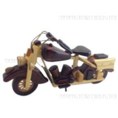 Декоративная бежево-коричневая фигурка мотоцикла
